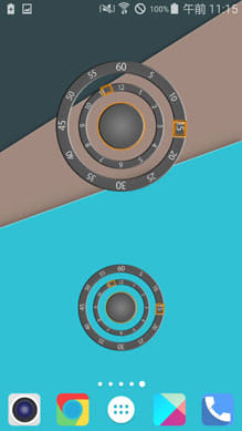 Modern Two Clock Widget:中サイズと小サイズ