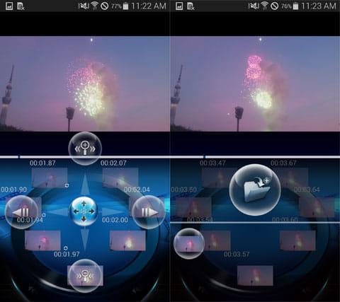 frame grabber -動画を写真に!フレームグラバー:ボールのメニュー(左)保存メニュー(右)