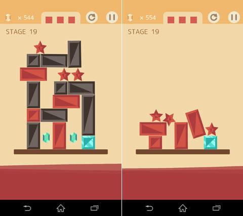 BLOCK TOWER 100:赤いブロックを落とさないように、黒いブロックを消していく