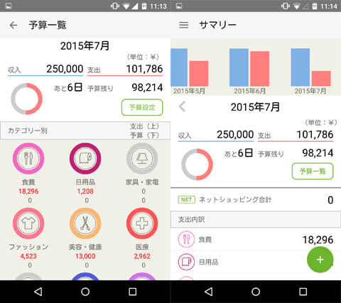 家計簿zippi:レシート読取が無料のかんたん人気アプリ:予算一覧画面(左)サマリー表示画面(右)