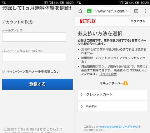 メールアドレスを登録(左)お支払い方法を選択。Paypalにも対応している(右)