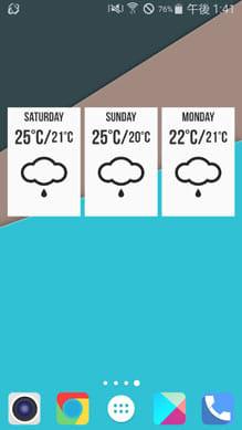 Grumpy Weather Widget:ウィジェットをタップすると3日間天気に切り替わる