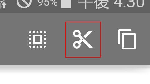 編集可能な場合のみ表示される切り取りボタン