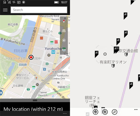 「Windows 10 Mobile Insider Preview」の地図(左)「Windows Phone 8.1 update」の地図(右)
