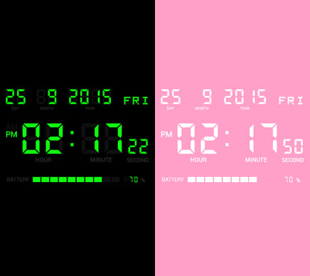 デジタルクロック SHG2 無料版:配色例(左)(右)