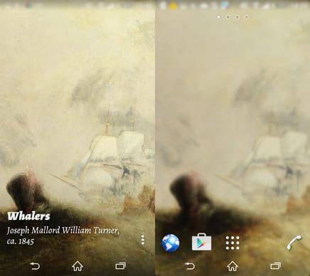 Muzei Live Wallpaper:(左)本日の名画(右)スマホ壁紙設定後