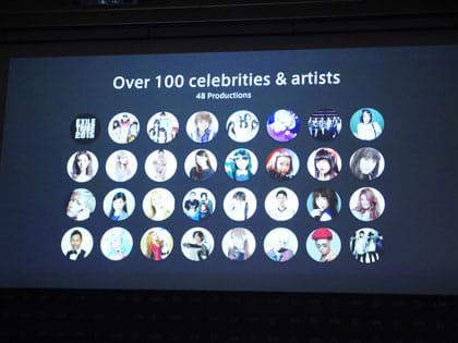 100人以上のアーティストやタレントが揃っている