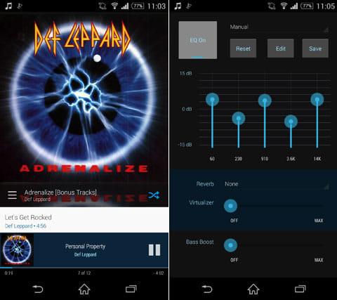Cloudskipper Music Player:再生画面(左)イコライザー機能(右)