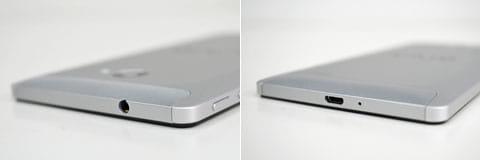 本体上部にステレオミニプラグの端子(左)底面にmicro USB端子(右)