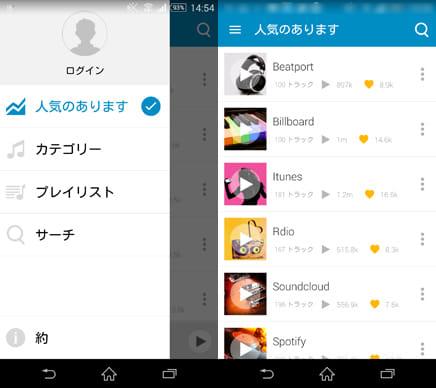 『PlaYo-無料無制限の音楽』(左)操作表示画面(右)人気あります画面