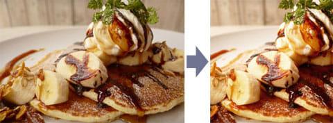 美味しそうなパンケーキ:オリジナル(左)『Instagram』で加工(右)