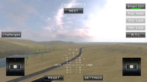 Quadcopter FX Simulator:視点切り替えも可能。景色を楽しもう