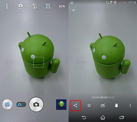 写真を撮影(左)アプリへ共有も簡単(右)