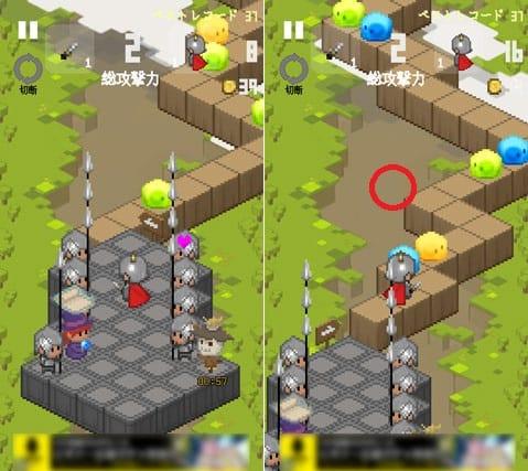 ジグザグ ヒーロー:画面の左右をタップしながらジグザグに進む(左)ブロックのない場所に移動するとゲームオーバー(右)