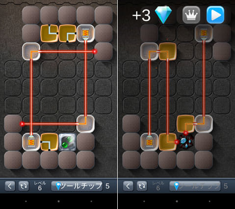 レーザーパズル:レーザーの反射を利用して指定されたブロックを破壊しよう