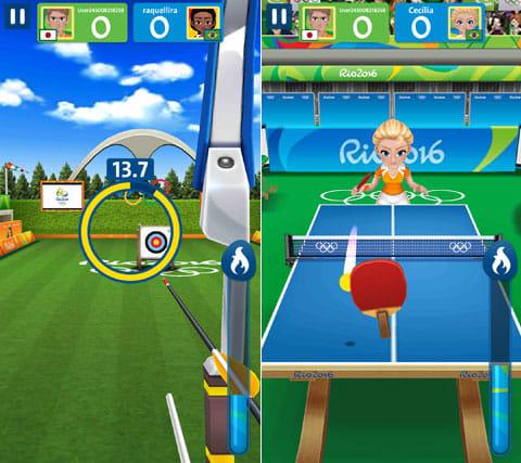 2016年リオデジャネイロオリンピック:アーチェリー(左)卓球(右)いずれも簡単な操作でゲームを楽しめる
