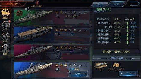 Warship Saga( ウォーシップサーガ):個人的に好きな金剛は、つねにマックス改造!w