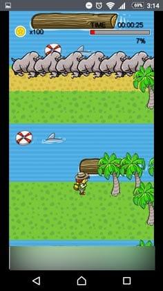 宝箱 ゲームでお小遣い稼ぎ!丸太の流れる方向、次の浮輪、そして陸地を考慮して事前に移動しておく