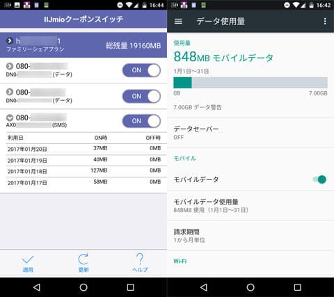 公式アプリを使って残りパケットをチェック(左)スマホの「データ使用量」機能を使ってチェック(右)