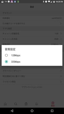 有料版ではじめて320kbpsの音質を選択できる