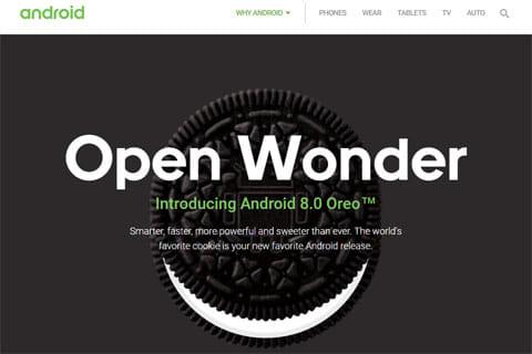 Android8.0は「Oreo(オレオ)」になりました。公式サイトにも当然オレオが!