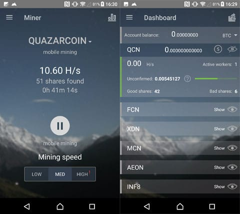 QuazarCoinコインの場合は40分で0.005まで採掘できてる。というように銘柄によって差がある