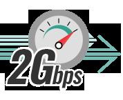 上り最大1Gbps、下り最大2Gbpsの通信速度