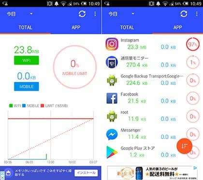 『通信量モニター』のTOP画面(左)アプリ別の通信量画面でインスタを確認(右)