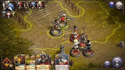 敵に囲まれると支援効果でサイコロの個数が減る。遠距離から戦える武器は有利だ!