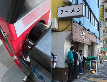 施錠は通常の自転車と同じ鍵をするだけ(左)さすが人気店。行列している(右)