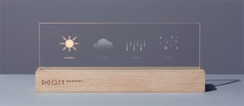 光が点灯で現在の天気、点滅で天気予報、色で予報気温がわかるようになっている