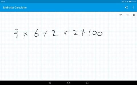「MyScript Calculator」で計算式を書いた例