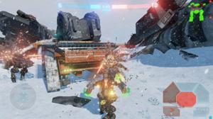 雪の降る静かなフィールドを舞台に、重厚な二足歩行型ロボットが激しい戦いを繰り広げる!.jpg