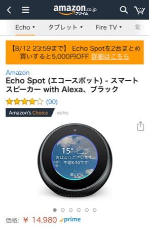 Echo Spot(エコースポット)