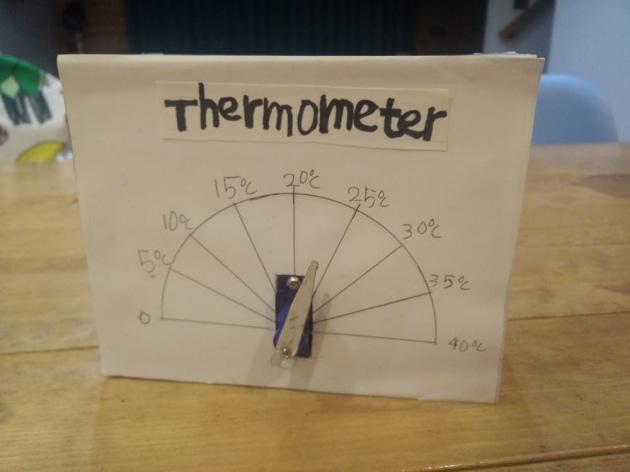 サーボモーターを埋め込んだ温度計の制作