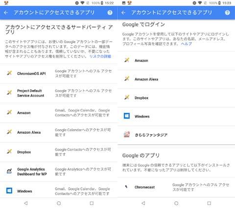 Googleアカウントでアクセスできるアプリやサービスはかなりある