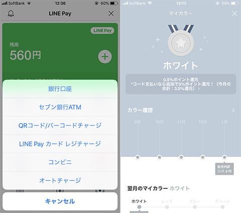 アプリ上でチャージが可能。選択肢がいくつかある(左)利用することでランクアップし、ポイント還元率が変わる(右)