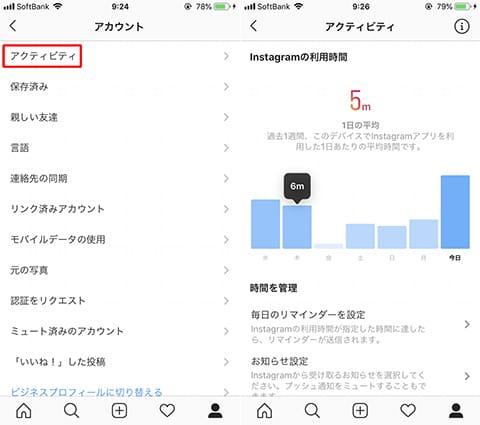「アカウント」画面から「アクティビティ」を選択(左)『Instagram』の利用時間が見られる(右)