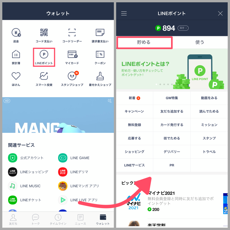 LINEアプリを開き、「ウォレット」タブにある「LINEポイント」を選択すると、ポイントを貯めるためのさまざまな方法が表示される。